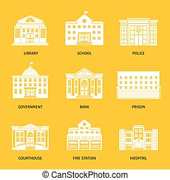 Municipal buildings white icons. Government building set,...