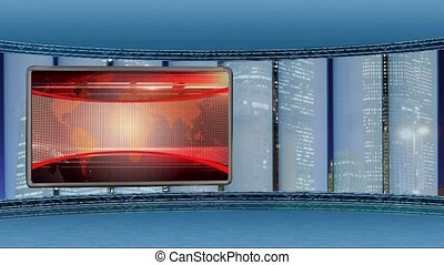 News TV Studio Set 249 - Virtual Green Screen Background...