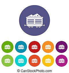 Train waggon with coal set icons in different colors...