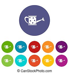 Watering can set icons in different colors isolated on white...