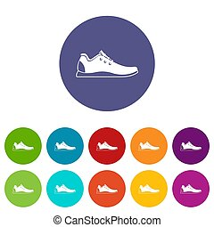 Athletic shoe set icons in different colors isolated on...