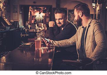 antigas, contador, bar, Cerveja, esboço, barzinhos, bebendo, amigos