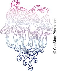 Group of decorative mushrooms. Element for design