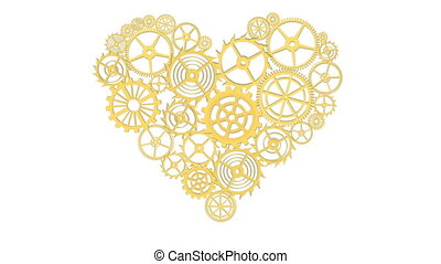 Heart with gears - Golden Heart with gears Isolated on white...