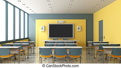 Contemporary empty classroom