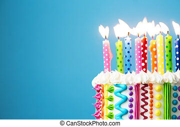 Colorful birthday candles - Birthday cake with colorful...