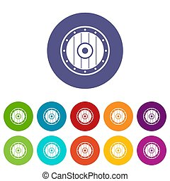 Round army shield set icons in different colors isolated on...