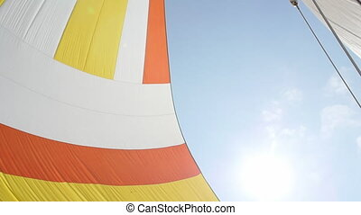 Colorful sail on background of sky. Regatta. Adventures in...