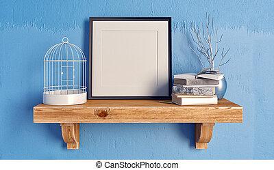 3d illustration, still life on a shelf. frame mock up