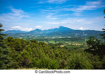 Panorama of mediterranean landscape and Mt Ventoux -...