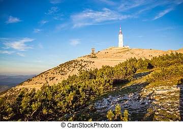 View over the Mont Ventoux during sunset in France - View...