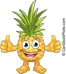Cartoon Pineapple Fruit Mascot Character - A fruit Pineapple...