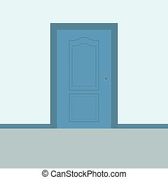 Closed biue entrance door interior vector illustration