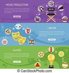 Cinema and Movie horizontal banners with flat icons camera,...