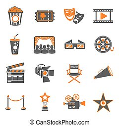Cinema and Movie Icons Set - Cinema and Movie two color...