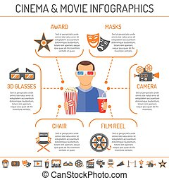 Cinema and Movie infographics with two color and flat Icons...