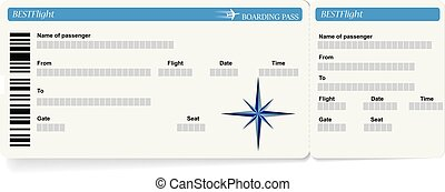 Blue vector template of boarding pass ticket