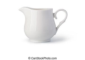 milk jug on white background