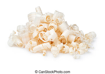 Wood chips isolated on white background