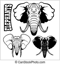 Elephant heads - vector set. Black and white - Isolated on white.