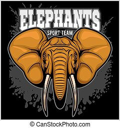 Elephants - sport club team symbol. Safari hunt badge of...