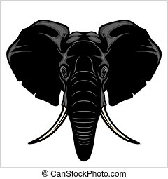 Elephant head. Isolated on white.