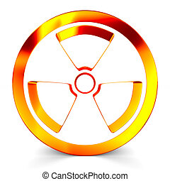 radiation symbol on white. Isolated 3D image