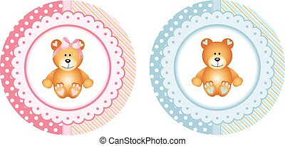 Baby shower round sticker labels with teddy bear