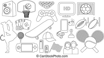 Entertainment hobbies and leisure activities thin line icon set