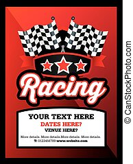motorsport, racing, karting,  club, event or match advert style poster