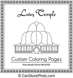 Lotus Temple in India Coloring Book - Lotus Temple in India,...
