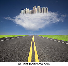 The road to the future city over the cloud