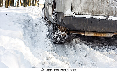 the car got stuck in the snow ,the concept of winter snow
