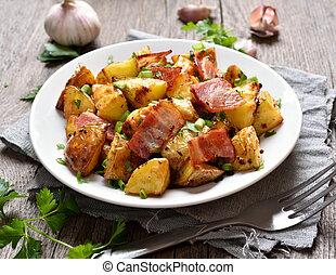 Roasted potato with bacon