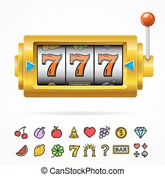 Slot Machine with One Arm Gambling. Vector