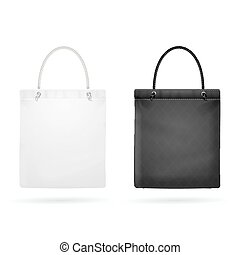 Realistic White and Black Template Blank Fabric Cloth Tote...