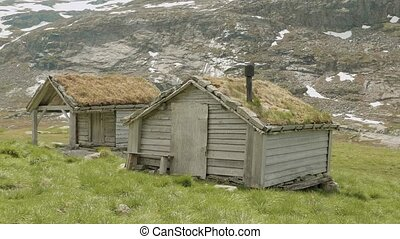 Houses with the grass on the roof, Norway
