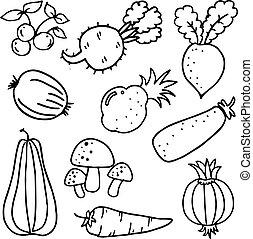 Vector art of vegetables doodles