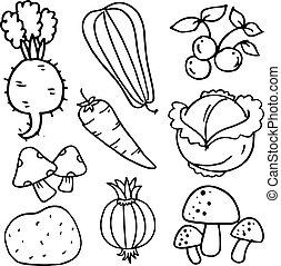 Doodle of vegetables illustration vector