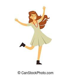 Cute Girl In Grey Dress Dancing On Dancefloor, Part Of...