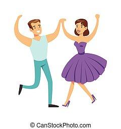Couple In With Woman In Fancy Dress Dancing On Dancefloor,...