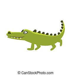 Crocodile Going For A Walk , Cartoon Character And His Everyday Wild Animal Activity Illustration