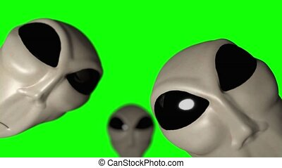 Alien grey heads faces creepy extraterrestrial gray...