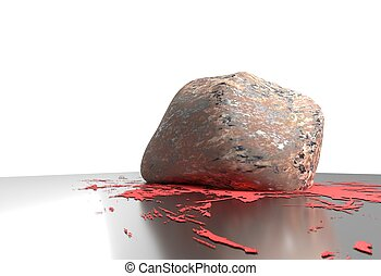 heavy stone smash and small blood on reflective floor 3d...