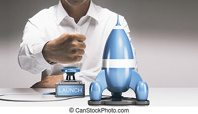 Company Startup or New Product Launch - Man about to launch...