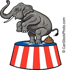 American Republican Party GOP Elephant Vector Cartoon...