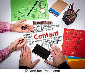 Content, Social Media Concept. The meeting at the white...