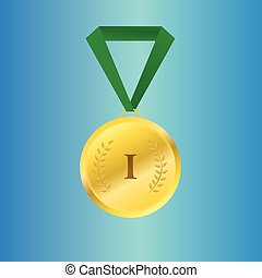 Vector gold medal on green ribbon