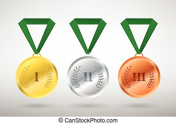 Illustration of three winners sports style medals for first...