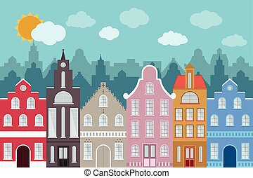 Set of European style colorful cartoon buildings.